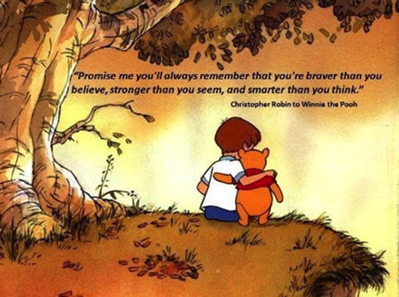 Christopher Robin tells Winnie-the-Pooh important information about Pooh.