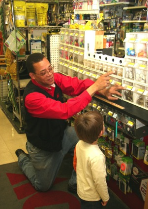 Phillip showing a store display.