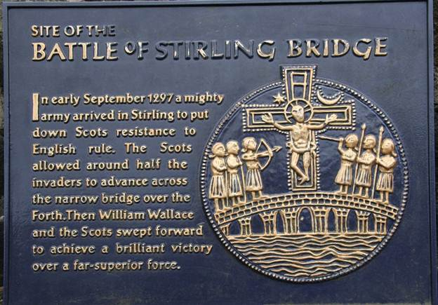 Plaque about the Battle of Stirling Bridge