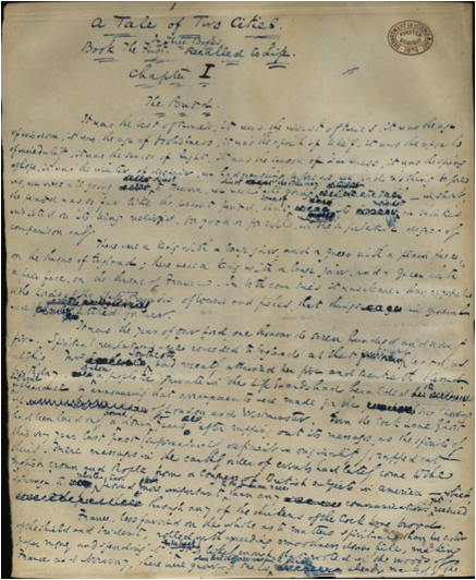 Description: The first page of Dickens' novel