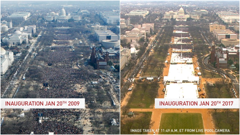 Description: A view of the National Mall during Barack Obama's first inauguration in 2009 and for Donald Trump's inauguration in 2017. Photos by Reuters and Pool Camera. Image has been updated to include time taken.