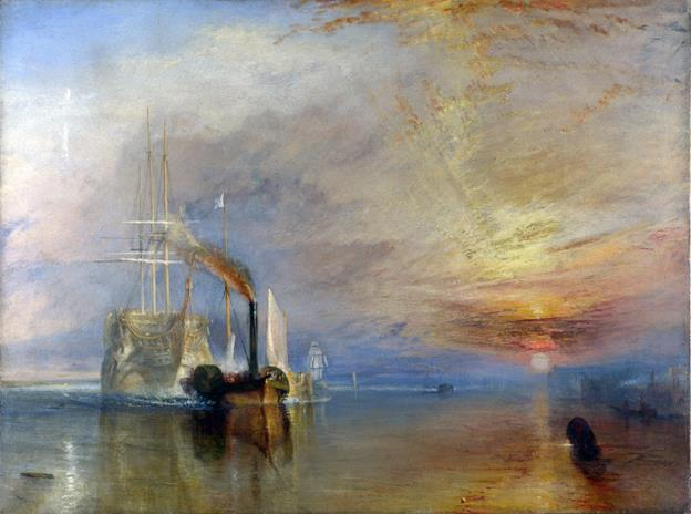 This is Turner's completed The Fighting Téméraire.