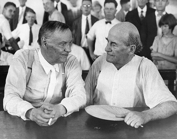 Clarence Darrow and William Jennings Bryan during a recess of the trial