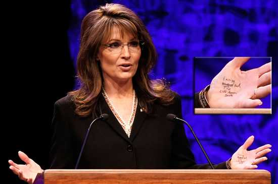 Sarah Palin and her notes