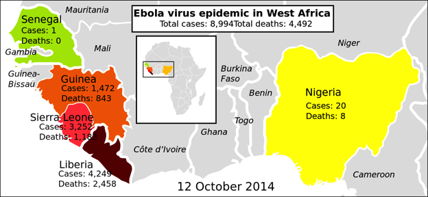 West Africa is the source of Ebola.