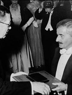 Faulkner receiving the Nobel Prize for Literature