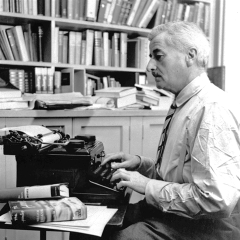 Faulkner at work typing