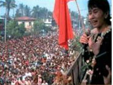 This is Aung San Suu Kyi speaking to a half million protesters at the 8888_Uprising.