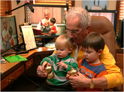 Description: Al with Jack and Owen looking at the Golden Rocks