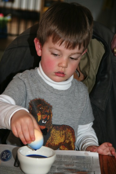 Jack was more interested in hid tricolored egg...