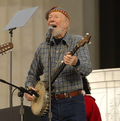 Pete Seeger singing at President Obama's Inauguration celebration in 2009