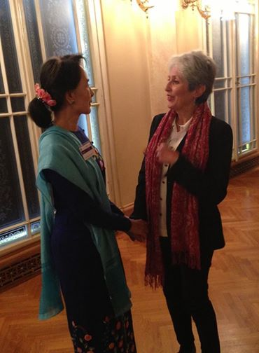 Joan talking to Aung San Suu Kyi