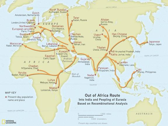Various routes out of Africa