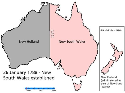 Australia divided between the Dutch and English