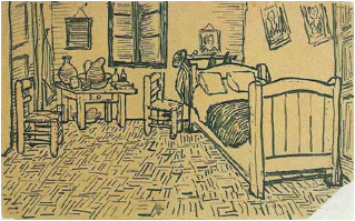 Description: https://upload.wikimedia.org/wikipedia/commons/1/1b/Vincent_van_Gogh_-_Vincent%27s_Bedroom_in_Arles_-_Letter_Sketch_October_1888.jpg
