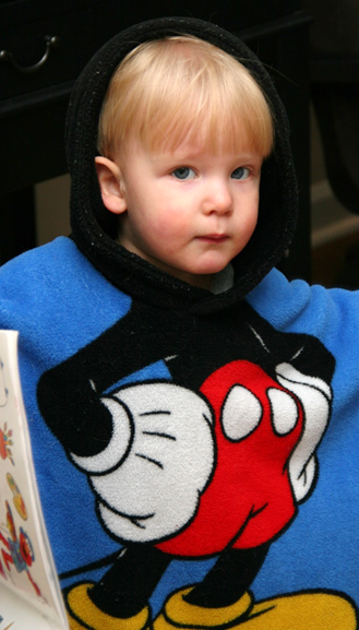 Owen in his Mickey towel