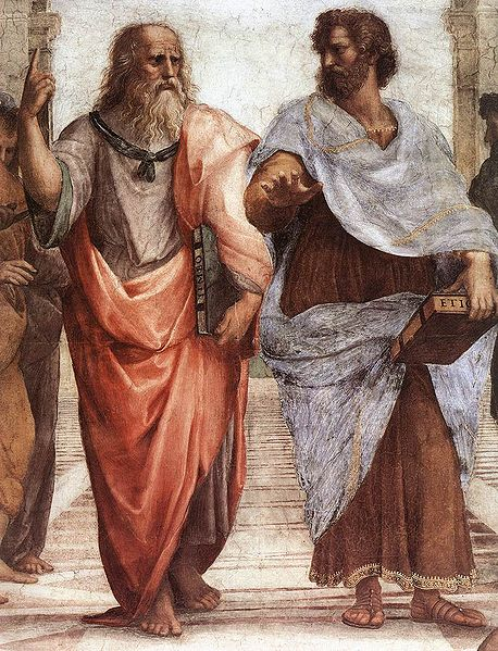 Plato and Aristotle talking about art, emotions, and feelings