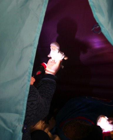 Flashlights in the tent