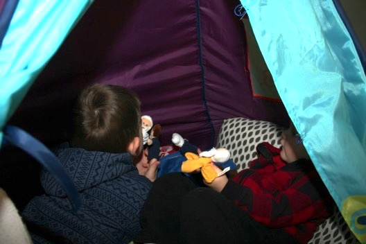 Jack and Owen in their tent