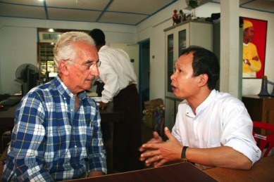 Pyone Cho is sharing his thoughts with me about the future of Myanmar