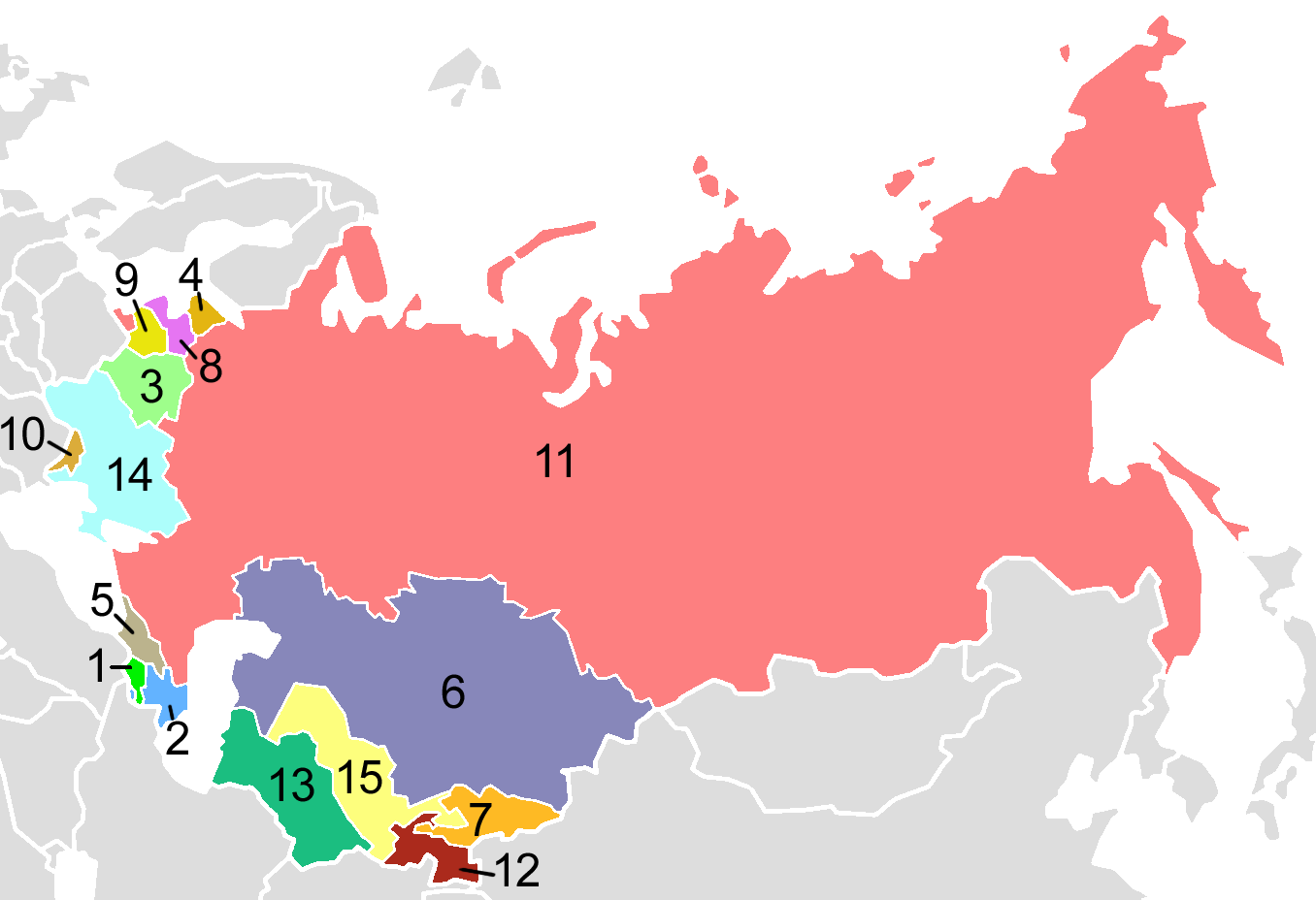 Post-Soviet states in English alphabetical order: