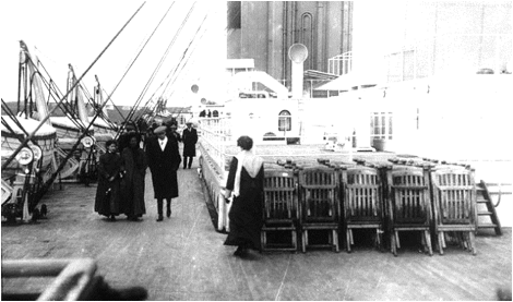 Description: Deck and Deck Chairs on the Titanic Corbis