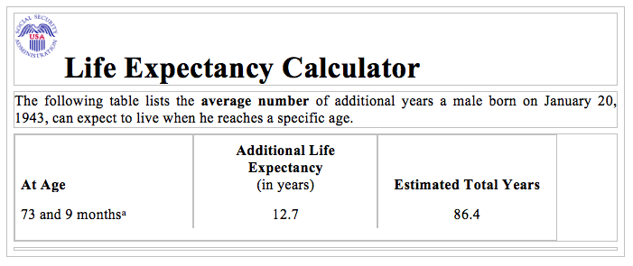 Expectancy Calendar
