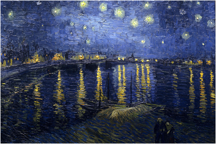 Description: https://upload.wikimedia.org/wikipedia/commons/thumb/9/94/Starry_Night_Over_the_Rhone.jpg/1280px-Starry_Night_Over_the_Rhone.jpg