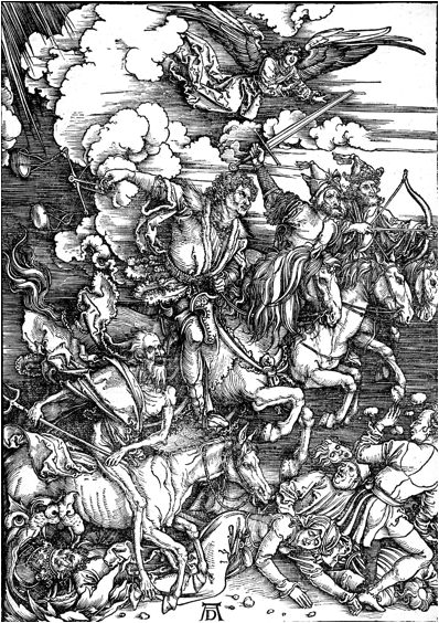 Description: https://upload.wikimedia.org/wikipedia/commons/2/29/Durer_Revelation_Four_Riders.jpg