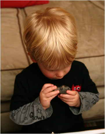 Description: Owen examining a fossil