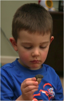 Description: Jack looking at the fossil
