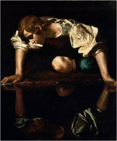 Description: https://upload.wikimedia.org/wikipedia/commons/2/29/Narcissus-Caravaggio_%281594-96%29_edited.jpg