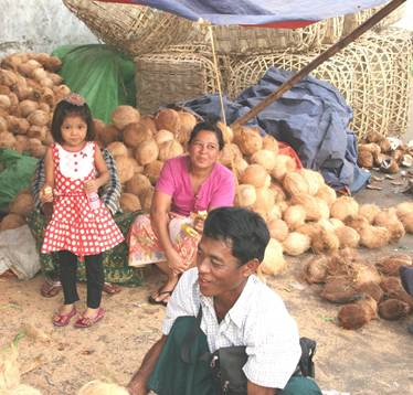 Family selling produce