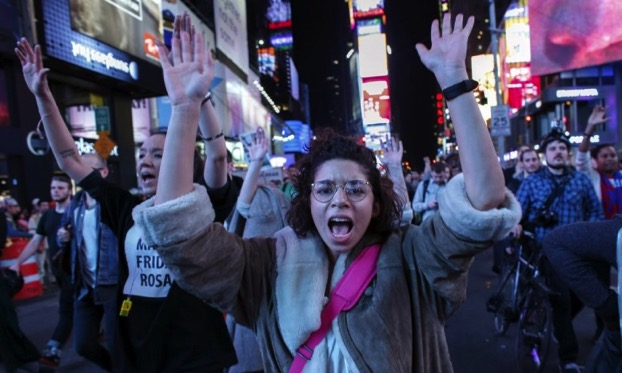This is another part of the Times Square protest
