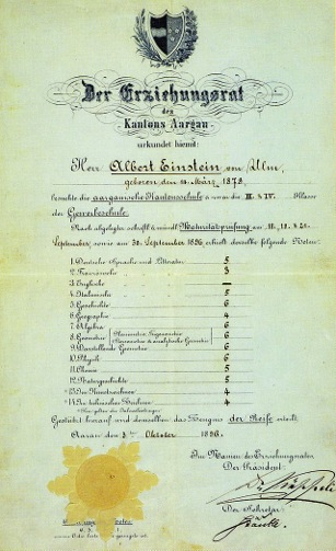 This was essentially his high school diploma when he was 17. The grading scale was 1-6 and 6 was excellent.